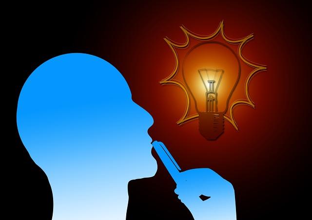 profil, myšlenka, žárovka