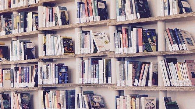 Knihy, knihovna, police